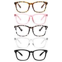 5 Pack Blue Light Blocking Reading Glasses,Spring Hinge Computer Readers for Women Men,Anti UV Ray Filter Nerd Eyeglasses