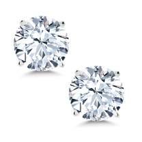 Gem Stone King 14K White Gold White Created Sapphire Women's Stud Earrings 2.00 Cttw 6MM