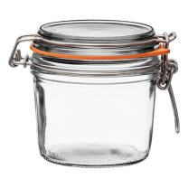 Le Parfait Super Terrine - 350ml French Glass Canning Jar w/Straight Body, Airtight Rubber Seal & Glass Lid, 12oz (Pack of 4) Stainless Wire