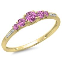 Dazzlingrock Collection 14K Gold Round Cut Pink Sapphire & White Diamond Ladies Bridal 5 Stone Engagement Ring