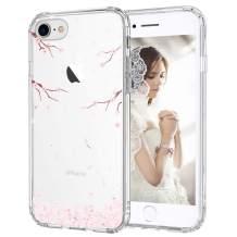 MOSNOVO Cherry Blossom Flower Floral Pattern Designed for iPhone SE 2020 Case/Designed for iPhone 8 Case/Designed for iPhone 7 Case - Clear