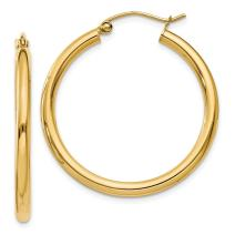 14k Yellow Gold 2.5mm Lightweight Tube Hoop Earrings Ear Hoops Set Round Classic Fine Jewelry For Women Gifts For Her