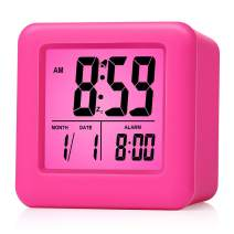 Plumeet Digital Alarm Clocks Travel Clock with Snooze and Pink Nightlight - Easy Setting Clock Display Time, Date, Alarm - Ascending Sound - Battery Powered (Pink)