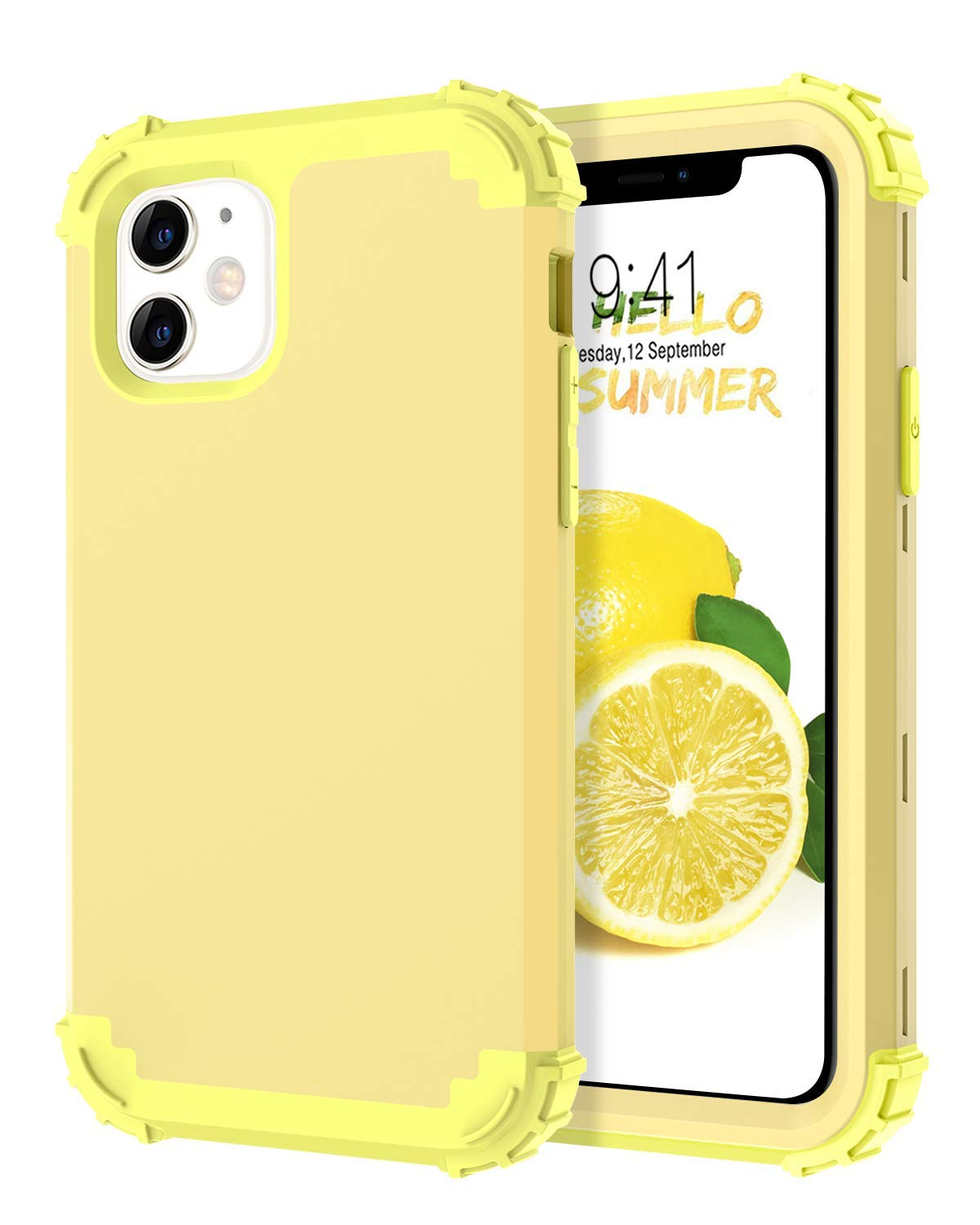 iPhone 11 Case, DUEDUE Heavy Duty Rugged Shockproof Drop Protection 3 in 1 Hybrid Hard PC Covers Soft Silicone Bumper Full Body Protective Case for iPhone 11 6.1 inch(2019),Lemon Yellow