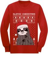 Slothy Christmas Ugly Christmas Sweater Sloth Youth Kids Long Sleeve T-Shirt