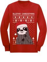 Slothy Christmas Ugly Christmas Sweater Sloth Youth Kids Long Sleeve T-Shirt
