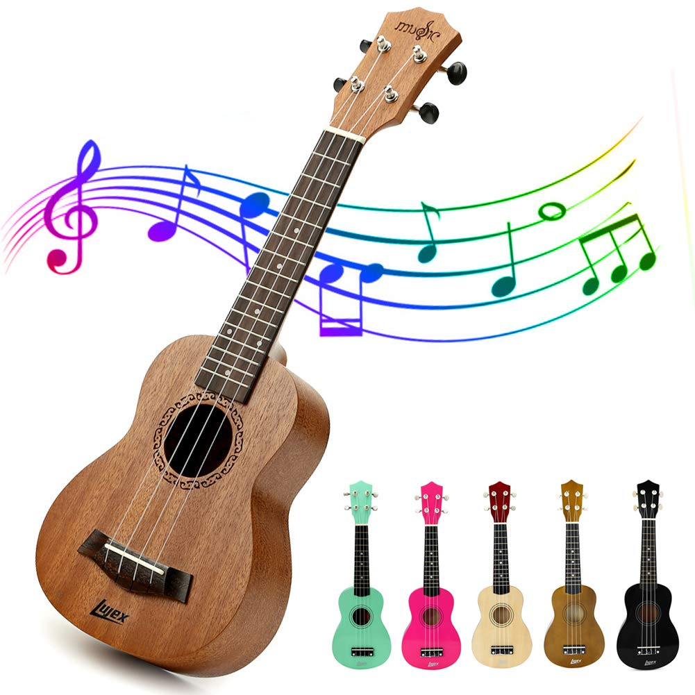 Lujex Soprano Ukulele 21 inch Wooden Hawaiian Guitar Professional Ukeleles for Beginners