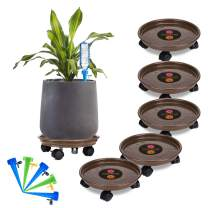 Murilan Round Flower Mover Potted Stand with Wheels 5 Pack Plant Caddy Heavy Duty, Brown