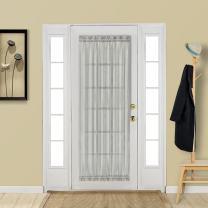 Aquazolax Glass Door Panel Window Curtain Elegant Solid Voile Transparent Sheer French Door Panel 25x72 Inches with Bonus Tieback - 2 Panels, Grey