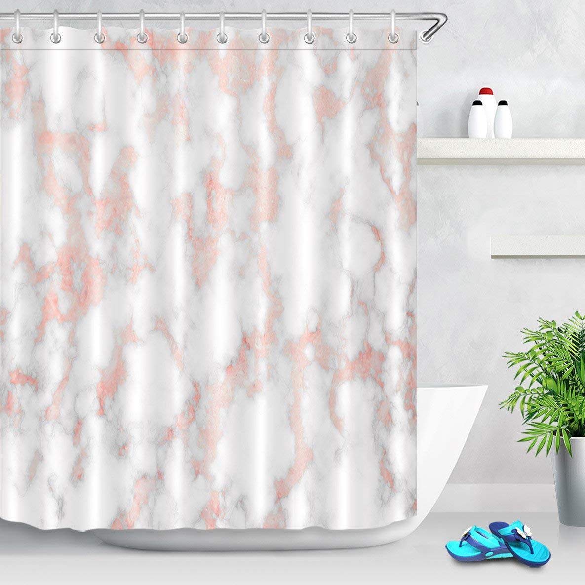 Lb Rose Gold Marble Shower Curtain Set Fashion Pink Metal Marble With Mineral Ink Texture Trendy Bathroom Curtain 72x72 Inch Polyester Fabric With 12 Hooks