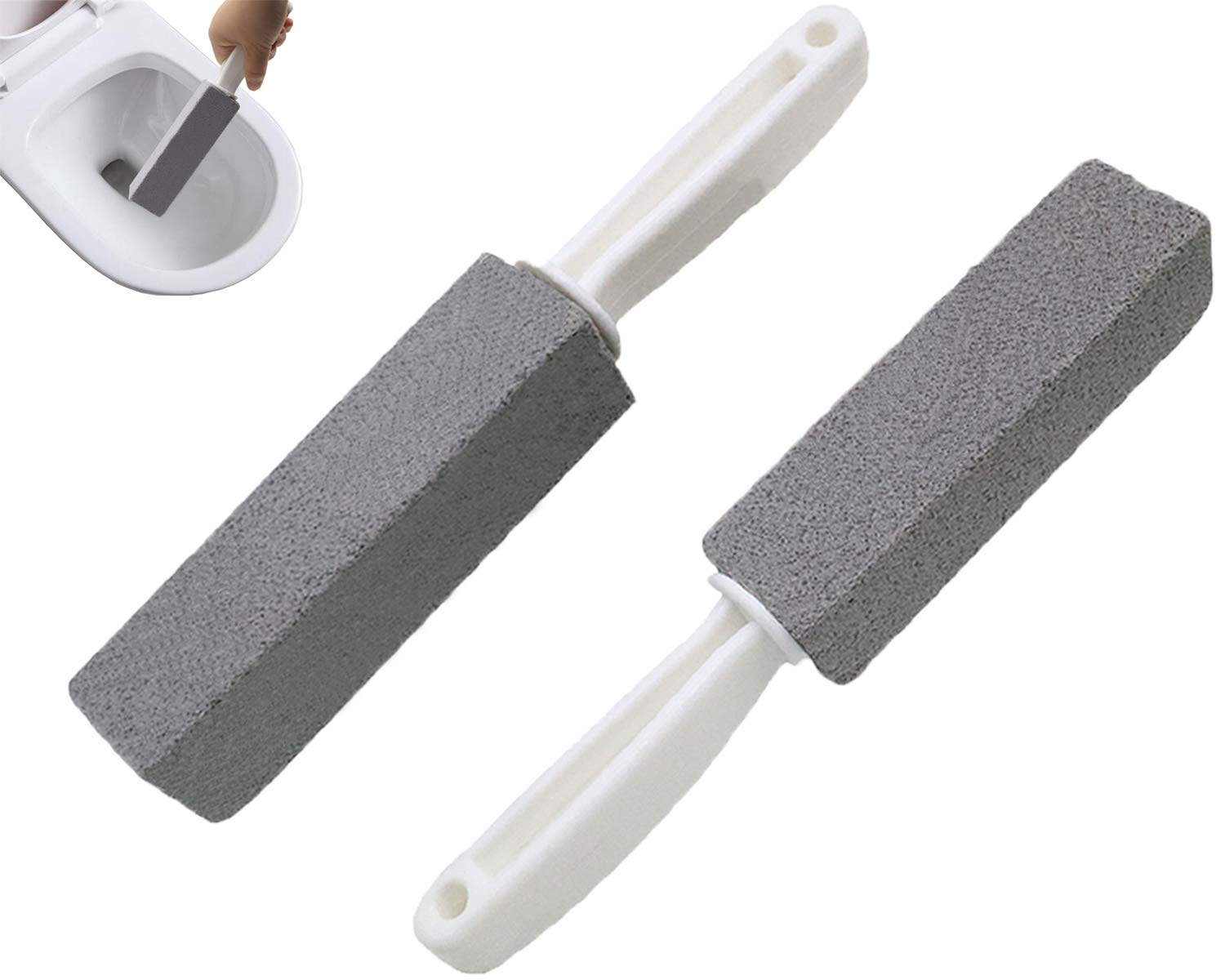 Comfun Toilet Bowl Pumice Cleaning Stone with Handle Stains and Hard Water Ring Remover Rust Grill Griddle Cleaner for Kitchen/ Bath/ Pool/ Spa/ Household Cleaning 2 Pack