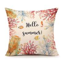 """4TH Emotion Hello Summer Throw Pillow Cover Beach Decor Cushion Case Decorative for Sofa Couch 18"""" x 18"""" Inch Cotton Linen(Coral and Fishes)"""