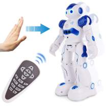 Flyglobal RC Remote Control Robot for Kids, Programmable Smart Robot Toys Intellectual Control Robot Rechargeable, LED Dancing Walking Robot Gesture Sensing Robot for Boys Girls Gift Blue