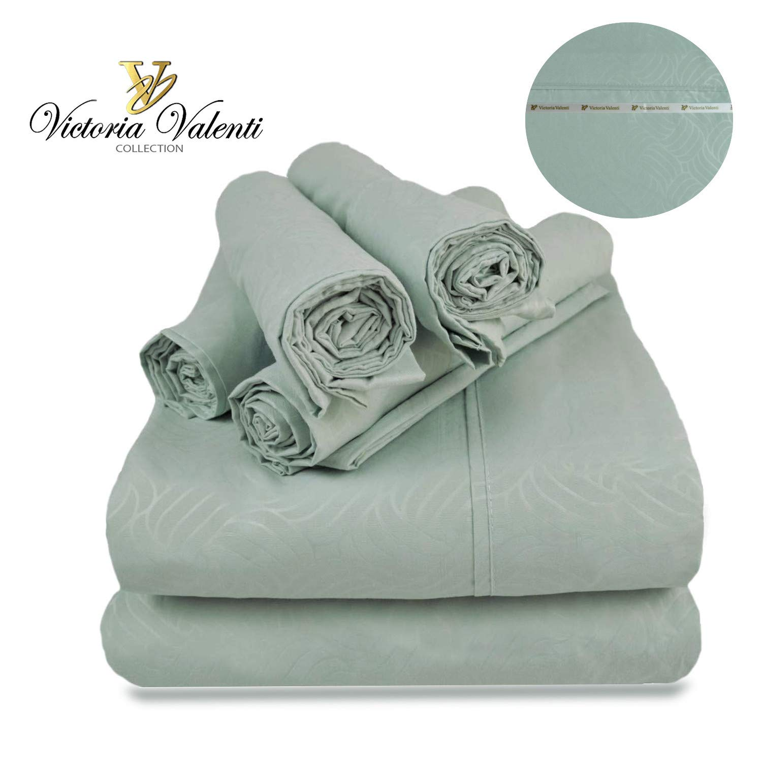 Victoria Valenti Embossed Sheet Set 7 Pieces with 4 Pillow Cases, Double Brushed and Ultra Soft with Deep Pockets for Extra Deep Mattress, Microfiber, Hypoallergenic Split K Teal