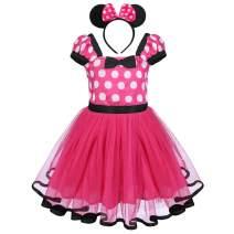 FYMNSI Baby Girls Polka Dots Birthday Princess Tutu Dress Halloween Carnival Cake Smash Outfits+ Bowknot Headband