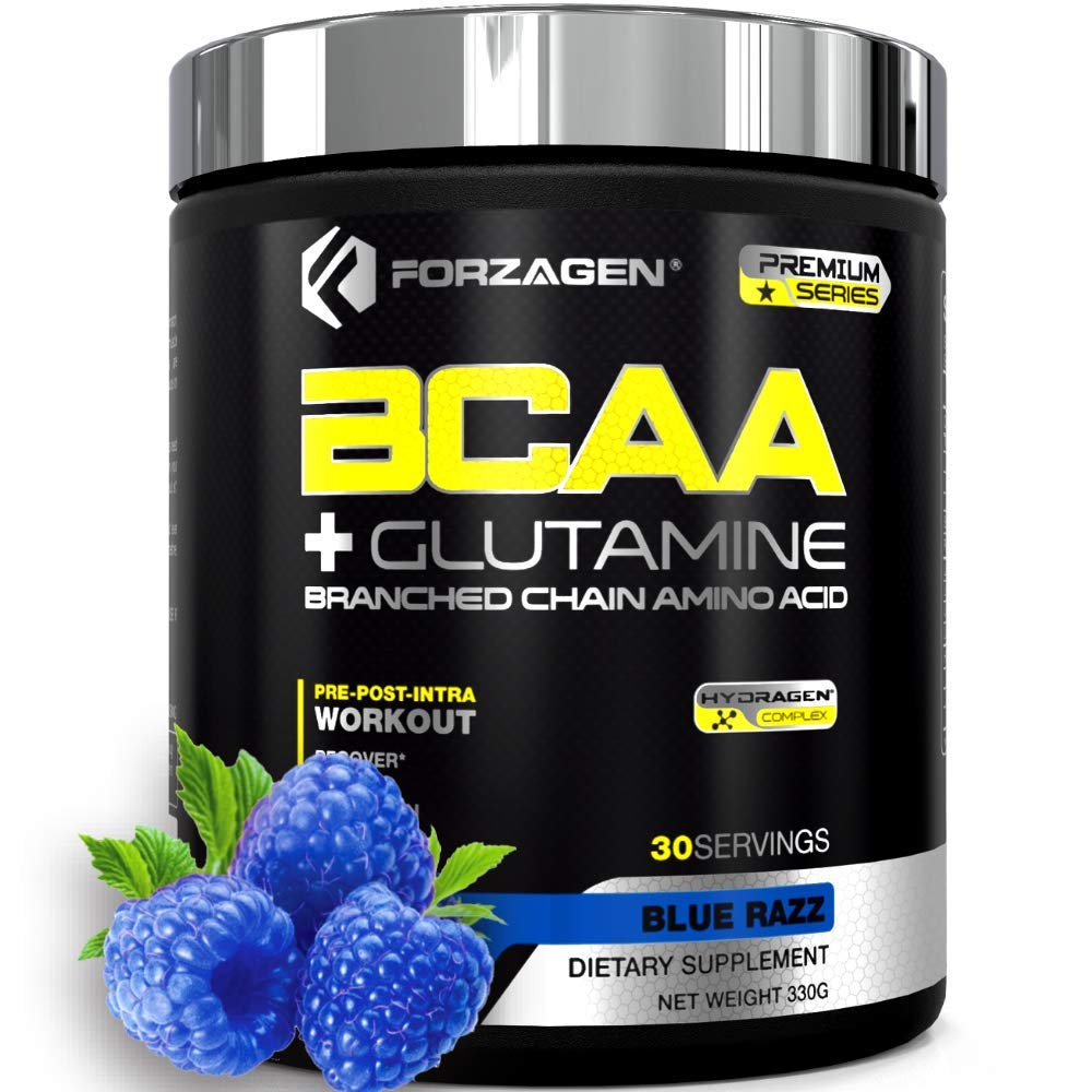 Forzagen Bcaa Powder Workout Recovery - Best BCAA   BCAAS Amino Acids   Electrolytes Keto Friendly   Hydration Powder  Bcaa Supplements   Post Workout Recovery Drink   Intra Workout (Blue Razz)