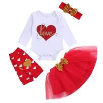 Baby Girls Skirt Outfits Toddler Kids Love Heart Print Romper+Tutu Dress+Leg Warmers+Headband 4Pcs Clothes Set