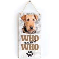 "Meijiafei Who Rescued Who - Rescue Dog Plaque for Airedale Terrier Gifts 10""x5"""