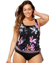 Swimsuits for All Women's Plus Size Floral Blouson Tankini Top