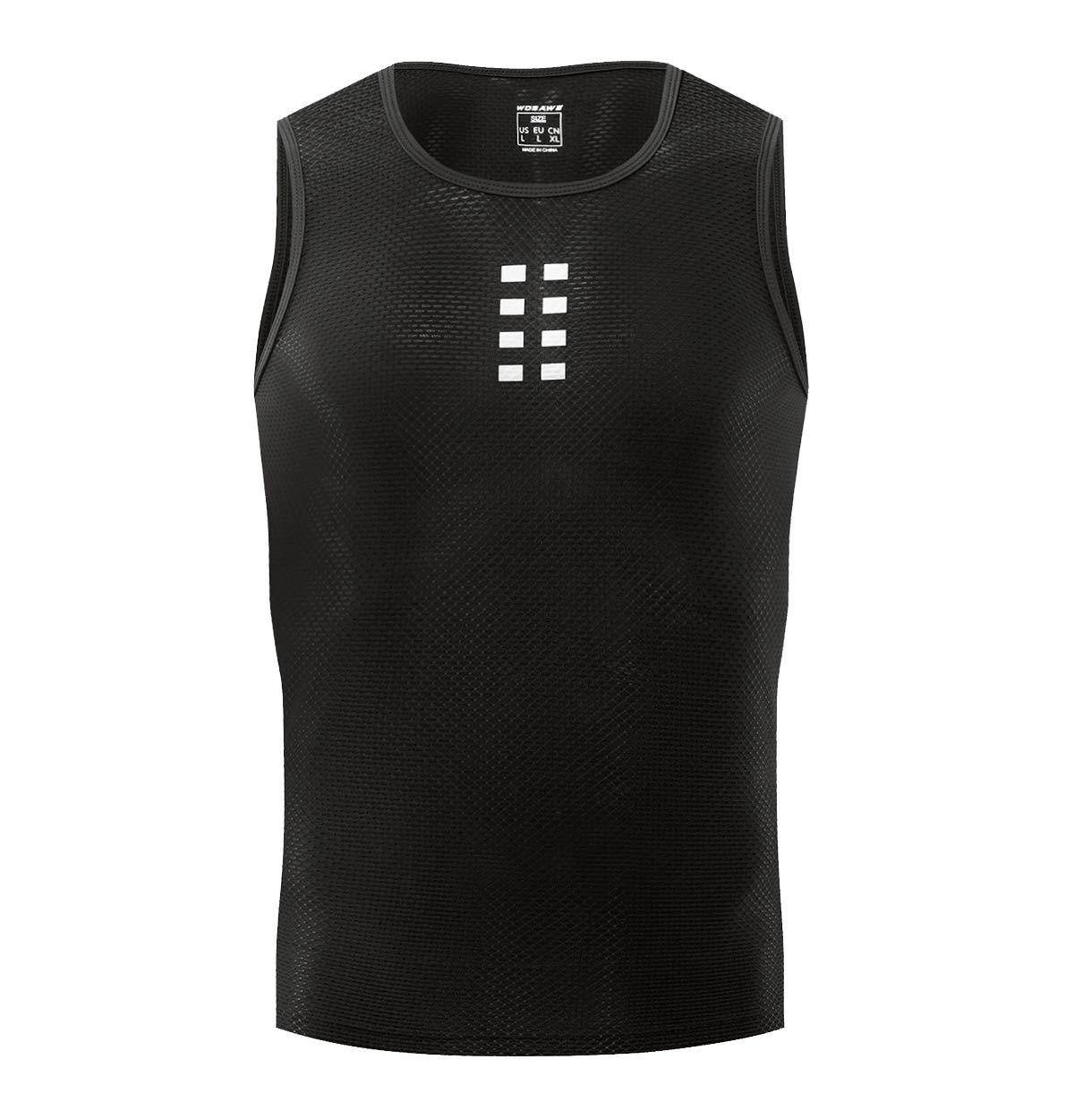 WOSAWE Men's Cycling Base Layer Sleeveless Bike Undershirt Cool Mesh Bicycle Top Vest