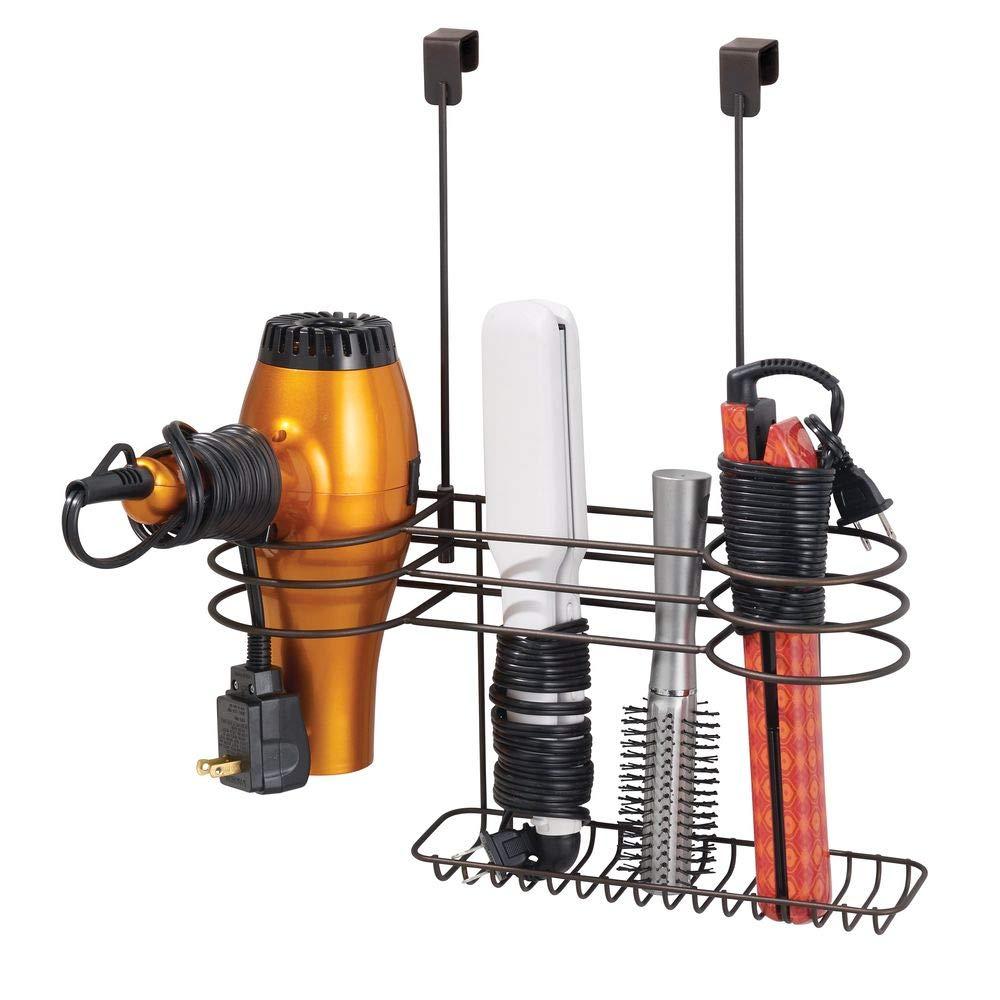 mDesign Metal Over Door Bathroom Hair Care & Styling Tool Organizer Storage Basket for Hair Dryer, Flat Irons, Curling Wands, Hair Straighteners - Hang Inside or Outside Cabinet Doors - Bronze