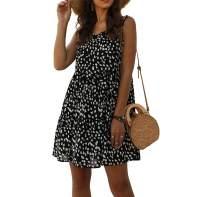Dress Depot Womens Summer Sleeveless V Neck Leopard Print Boho Casual Cute Loose A line Tank Swing Mini Dress Black S
