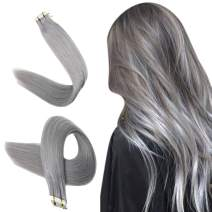 Easyouth Tape in Hair Extensions 16inch Real Human Hair Extensions Glue in Hair Color Silver 25g per Package Tape on Hair Extensions for Women Easy to Use