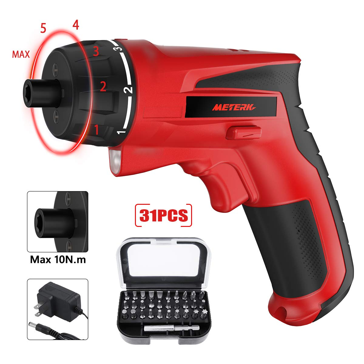 Cordless Electric Screwdriver 10 N.m, 7.2V 1500mAh Rechargeable Cordless Screwdriver with 31Pcs Free Screwdriver Bits, 6-Torque Setting and Front LED Light for Home DIY