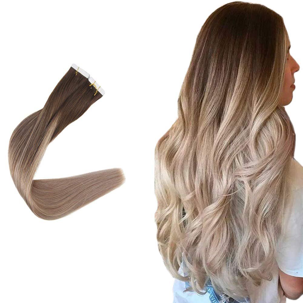 Easyouth 22inch Tape in Hair Exensions Adhesive Tape Hair Color 4 Fading to Color 18 Ash Blond Straight Hair 100g 40pcs Remy Human Hair Skin Weft Invisible Tape on Hair Extensions