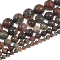 """Natural Stone Beads 10mm Rainforest Agate Beads Gemstone Round Loose Beads Crystal Energy Stone Healing Power for Jewelry Making DIY,1 Strand 15"""""""