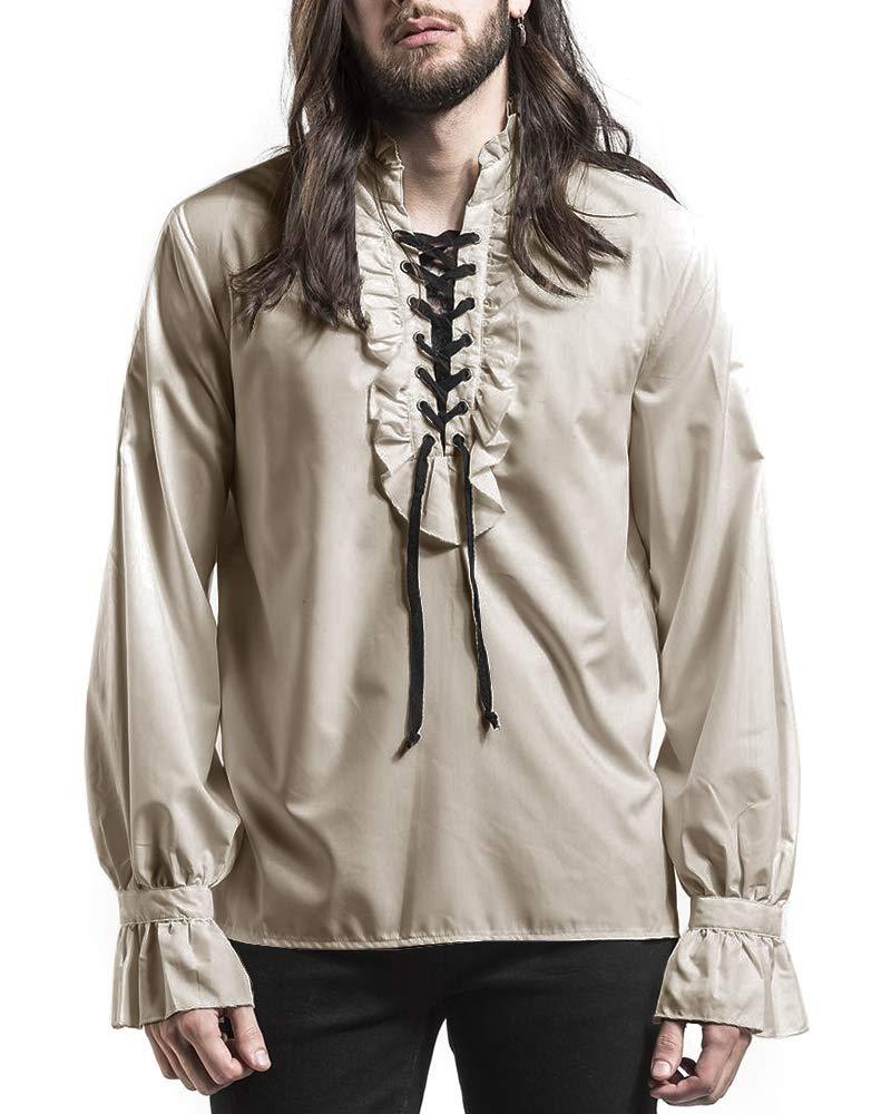 PASLTER Mens Medieval Victorian Costume Ruffle Shirts Pirate Shirt Renaissance Mercenary Steampunk Shirts for Men