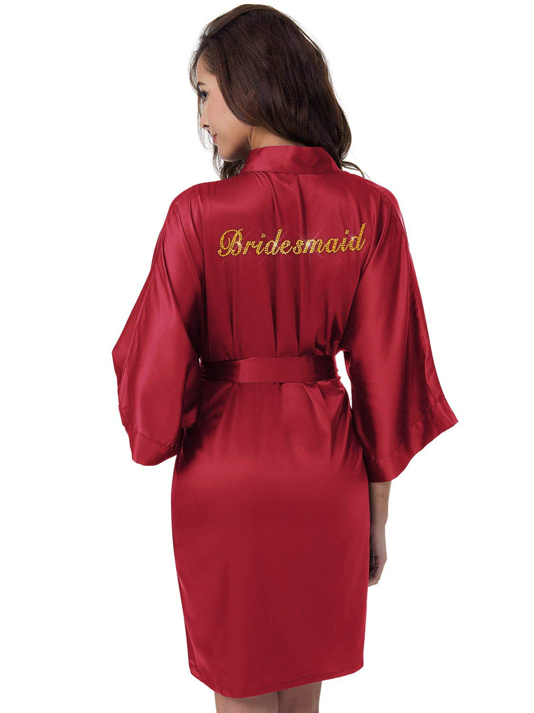 SIORO Personalized Bridal Party Robes for Bridesmaid Bride Short Satin Bathrobe