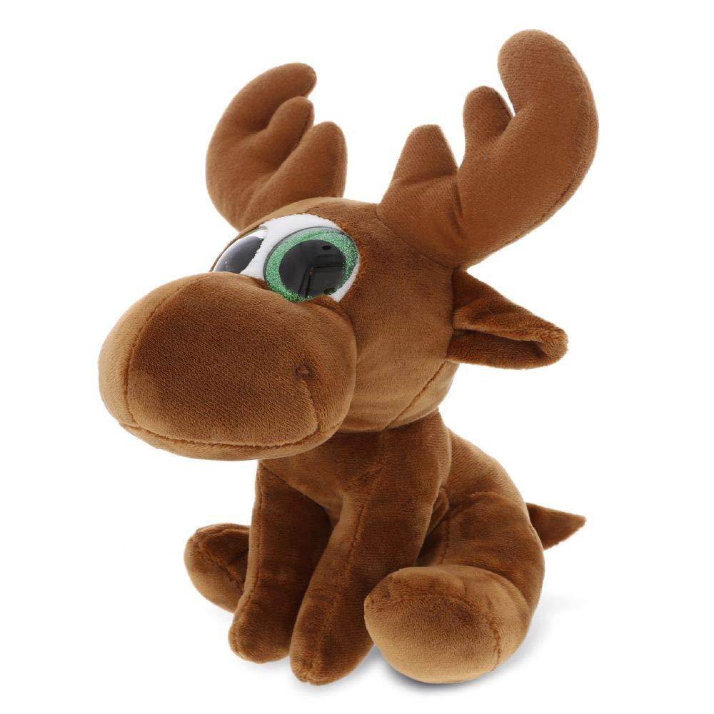 Dollibu Sparkling Big Eye Plush Stuffed Animal Teddy Bear - Cute Soft Woodland Security Toy Pal - Furry Plushie Cuddle Buddy Bedtime Friend - Special Birthday Gift for Baby Girls Boys - Small Moose
