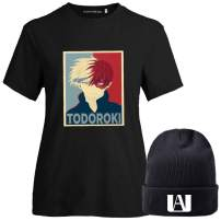 BUBABOX Women's Girls My Hero Academia Izuku Midoriya Bakugo Todoroki Cosplay T-Shirt with Matching Anime Beanie Hats