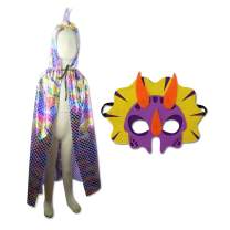 Vlish Purple Hooded Dragon Cloak – Dinosaur Cape and Mask Set | Halloween Cosplay Costume Dress Up | Dino Spike Fantasy Pretend Play Robe | Great for Christmas, Easter, Birthday Dragons Themed Party