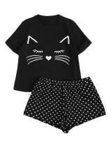 DIDK Women's Cat Print Cuffed Top and Polka Dots Shorts Pajama Set