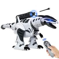 Costzon RC Robot Dinosaur, Kids Intelligent Interactive Toy, Electronic Remote Controller Dinosaur, Walking Dancing Singing w/ Fight Mode, Programmable Robot Gift for Children Boys and Girls (White)