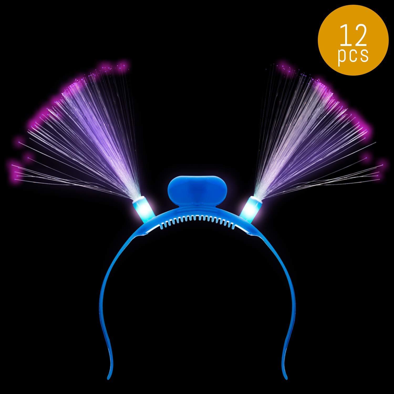 Lumistick Led Fiber Optic Headband - Bright Colors Light Up Headband Night Parties Kids Glowing Lights Hair Hoop (Blue, 12 Headbands)