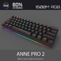 Anne Pro 2 Mechanical Gaming Keyboard 60% True RGB Backlit - Wired/Wireless Bluetooth 5.0 PBT Type-c Up to 8 Hours Extended Battery Life, Full Keys Programmable (Kailh Box Brown, Black)