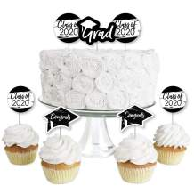 Big Dot of Happiness Black and White Grad - Best is Yet to Come - Dessert Cupcake Toppers - Black and White 2020 Graduation Party Clear Treat Picks - Set of 24