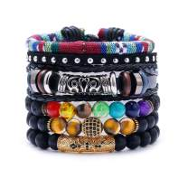 BOMAIL 7Pcs Braided Leather Beaded Bracelets- 8mm Tiger Eye Stone Lava Rock Beads Bracelet Woven Ethnic Tribal Rope Cuff Bracelets for Women Men Gift