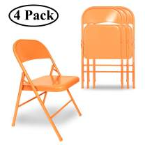 VECELO Folding Chair Triple Braced & Double Hinged Back with Metal Frame for Home Office, Orange
