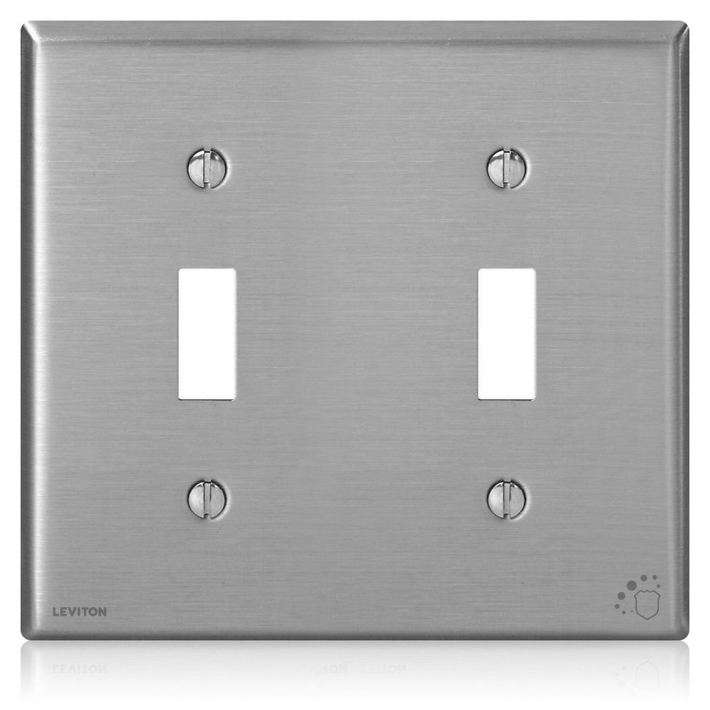 Leviton 84009-A40 Antimicrobial Treated 2-Gang Toggle Device Switch Wallplate, Standard Size, Powder Coated Stainless Steel