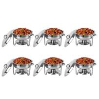 ROVSUN 5 Qt 6 Packed Full Size Stainless Steel Chafing Dish Buffet Silver Round Catering Warmer Set with Food and Water Trays, Mirror Cover, Thick Stand Frame for Kitchen Party Banquet
