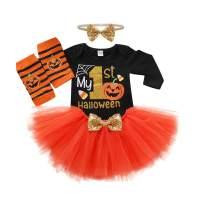 My First Halloween Outfit Newborn Baby Girl Long Sleeve Pumpkin Romper + Tutu Skirt Set Fall Clothes Sets