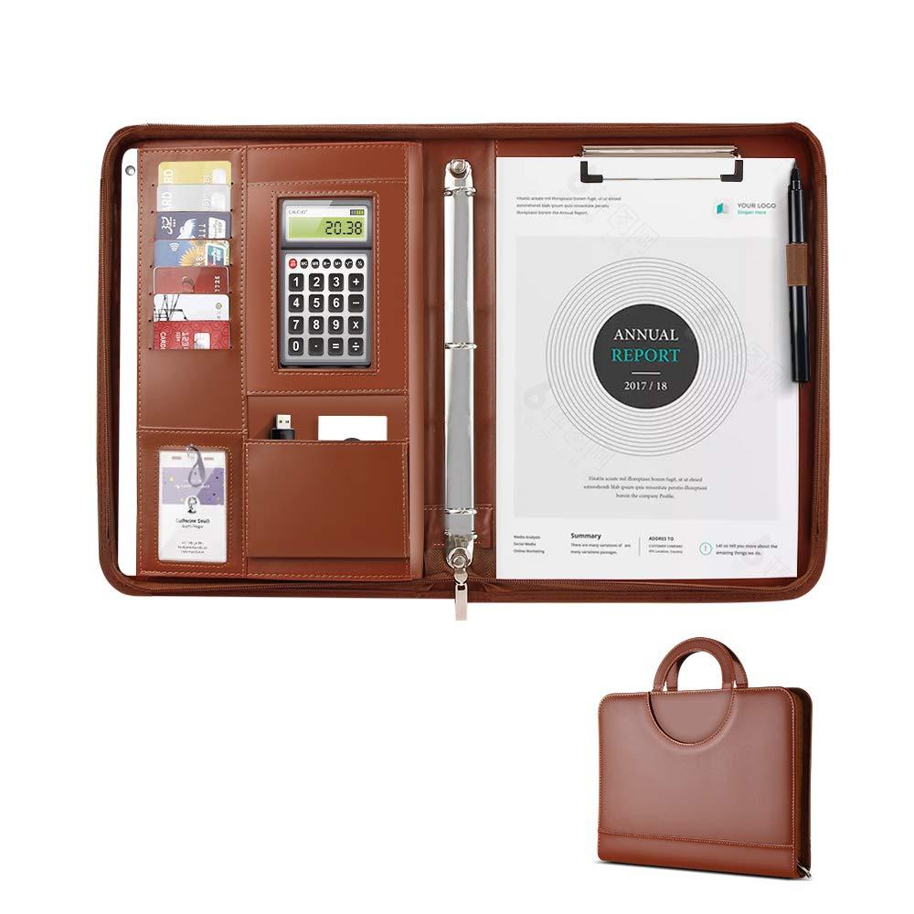 Portfolio Business AtailorBird Padfolio Folder Zippered Document Resume Organizer PU Leather Briefcase with 3 Ring Binder and Writing Pad, Brown