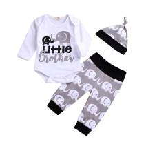 Little Brother Outfits, Infant Baby Boys Little Elephant Outfit Long Sleeve Onesie Romper Pants Hat Clothes Set