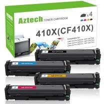 Aztech Compatible Toner Cartridge Replacement for HP 410A CF410A 410X CF410X Color Laserjet Pro M477fdw M477fnw M477fdn M452dn M452dw M452nw CF411X CF412X CF413X (Black, Cyan, Yellow, Magenta, 4-Pack)