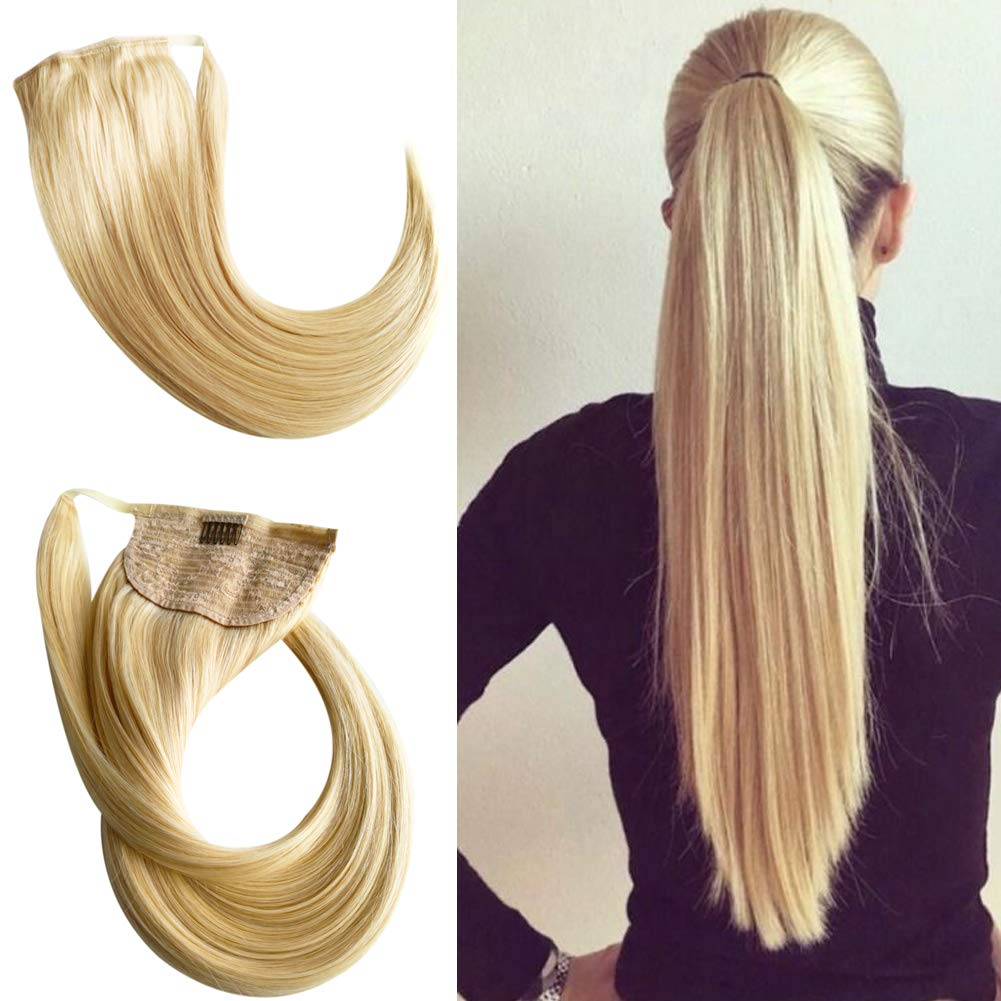 Wrap Around Ponytail Real Human Hair Extensions Magic Paste Ponytail with Clips Brazilian Virgin Hair Real Remy Hair Pony Tails Hair Extensions For Women Long Straight 18inch(#613 Bleach Blonde)100g