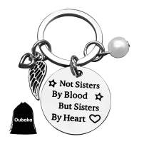 Oubaka Best Sister Keychain,Jewelry Gift Not Sister by Blood But Sister by Heart Keychain Sweet Gift for Friends